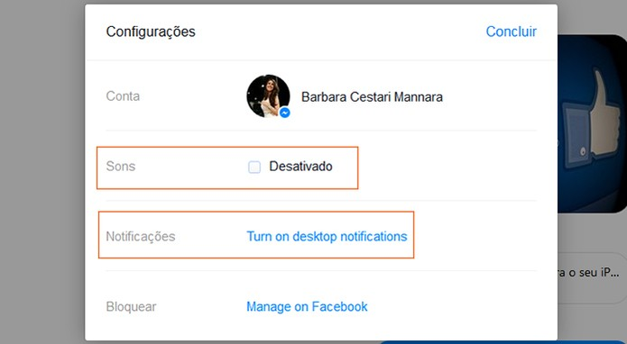 Desativando sons e notifica??es no Messenger Web (Foto: Reprodu??o/Barbara Mannara)