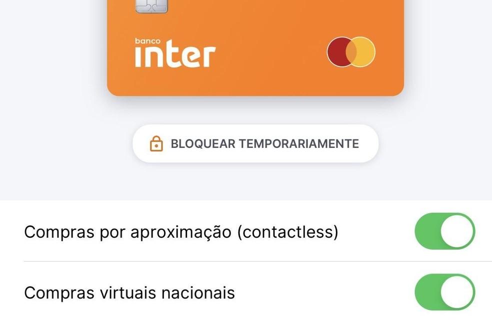 Aplicativo do Banco Inter permite controlar a função contactless — Foto: Reprodução/Banco Inter