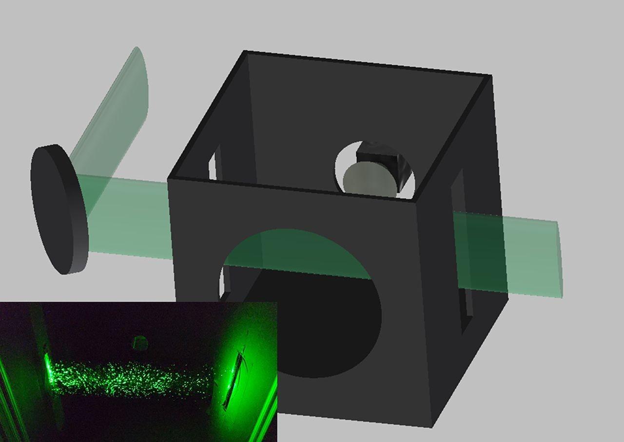 No aparato desenvolvido por cientistas da Universidade Duke, um feixe de laser é expandido verticalmente por lentes cilíndricas e atravessa fendas da caixa. A câmera está localizada no fundo da caixa e um buraco para o orador, na frente. A inserção mostra a dispersão de partículas de água borrifadas por um spray. (Foto: Martin Fischer, Duke University)