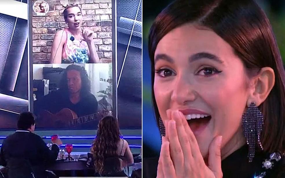 Dua Lipa faz show surpresa no BBB e deixa Manu paralisada — Foto: Reprodução/TV Globo
