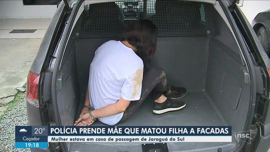 Mãe que matou filha com facada em Balneário Camboriú é presa em Jaraguá do Sul