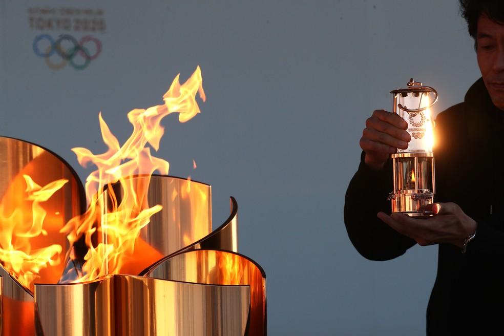 Chama olímpica de Tóquio 2020 ficará em espécie de lampião em exibição em Fukushima — Foto: Clive Rose / Getty Images