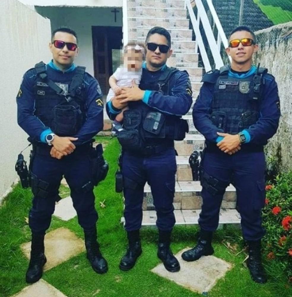 Bebê de 6 meses é salva por policiais militares após engasgo em Fortaleza — Foto: Divulgação