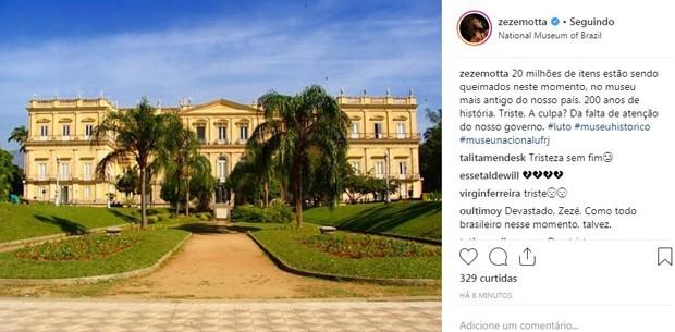 Zezé Mota se pronunciou sobre a tragédia no museu do Rio de Janeiro (Foto: Reprodução / Instagram)