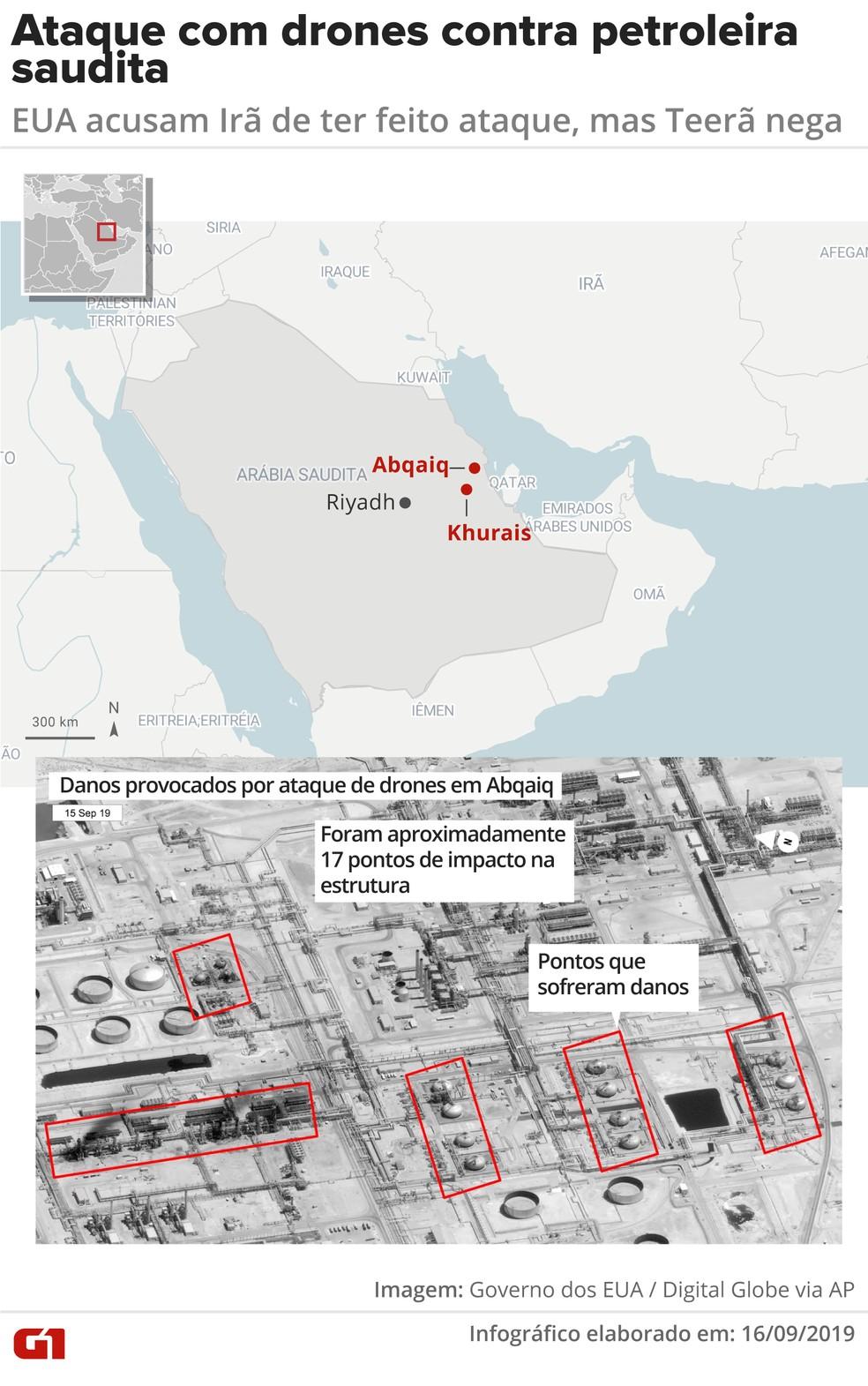 Ataque com drones contra instalações da petroleira saudita Aramco — Foto: Juliane Monteiro/ G1