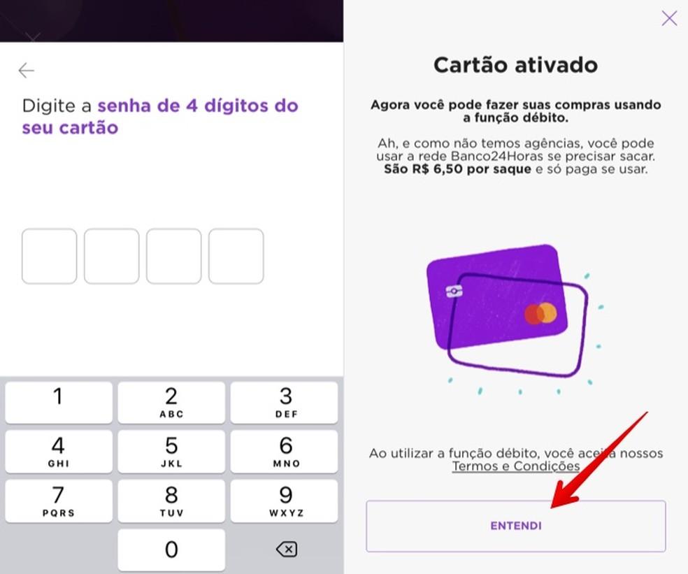 Confirme a senha do cartão para ativar o recurso — Foto: Reprodução/Helito Beggiora