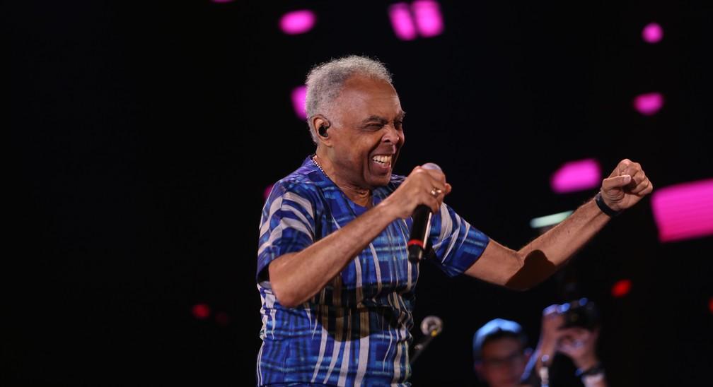 -  Gilberto Gil no palco Brasil do João Rock 2018, em Ribeirão Preto, SP  Foto: Roberto Galhardo/Divulgação
