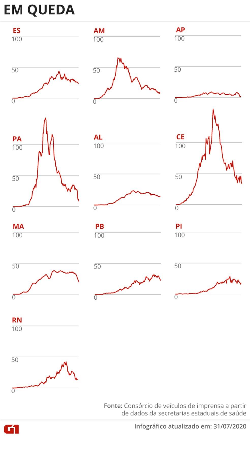 Estados com média de mortes em queda — Foto: Arte G1