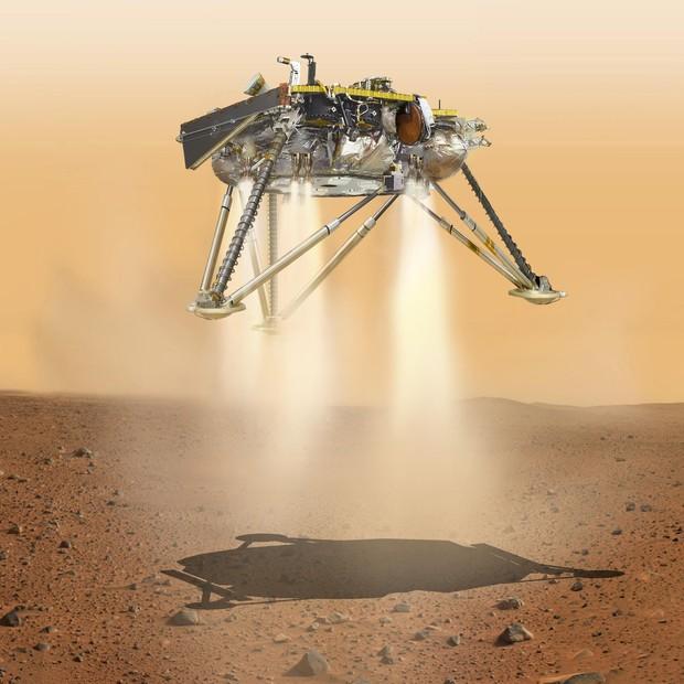 Pouso ocorrerá em uma das planícies mais extensas de Marte. Depois de dois meses de trabalhos preparatórios, começarão a perfuração do solo e análise das informações (Foto: NASA-JPL-Caltech)