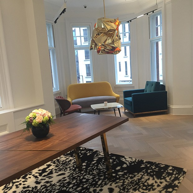 Inside Stephen Webster's showroom, which features an Alexander McQueen rug and