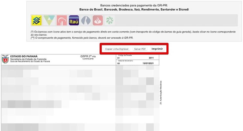 Guia de pagamento pode ser salva em PDF ou impressa — Foto: Reprodução/Helito Beggiora