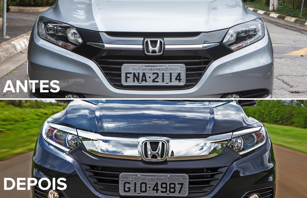 Antes de depois do Honda HR-V — Foto: Celso Tavares/G1 e Divulgação