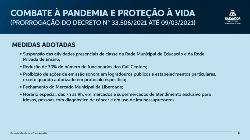 Medidas divulgadas pela Prefeitura de Salvador nesta sexta-feira (19) — Foto: Divulgação/Prefeitura de Salvador