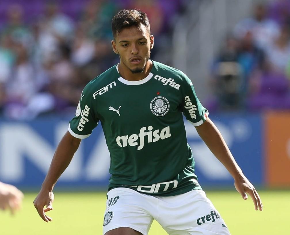 Gabriel Menino em ação pelo Palmeiras — Foto: Cesar Greco / Ag Palmeiras