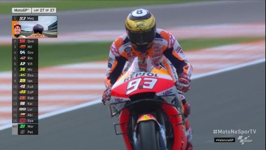 Última volta da Moto GP no circuito Ricardo Torno, GP de Valência.