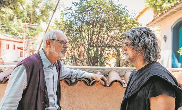 Marcos Caruso e Eduardo Moscovis gravam 'O Sétimo Guardião' (Foto: Paulo Belote /TV Globo)