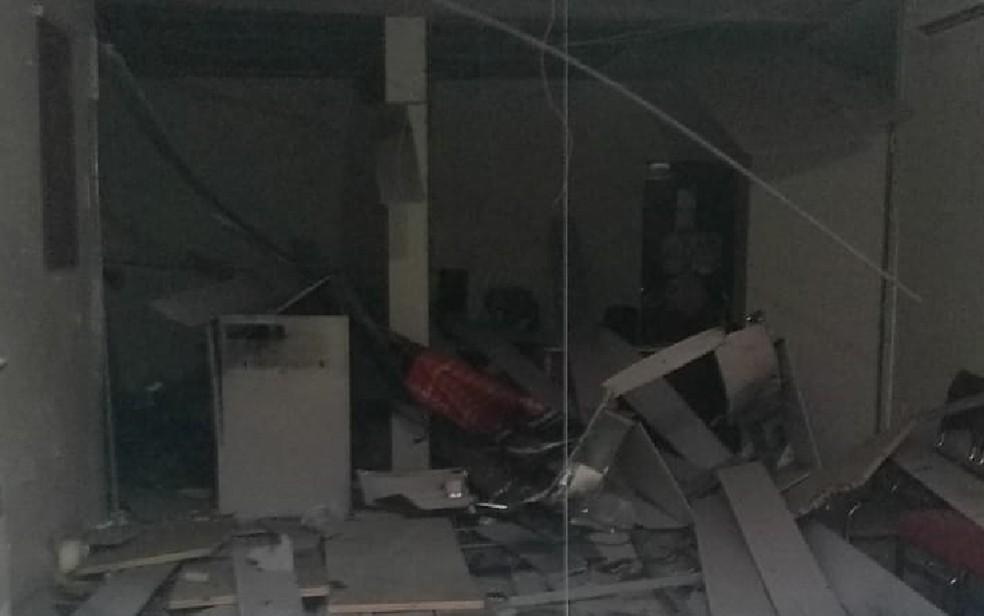 Posto bancário foi alvo de bandidos em Condado, na Zona da Mata de Pernambuco â?? Foto: Reprodução/WhatsApp