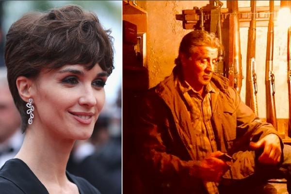 A atriz Paz Vega e o ator Sylvester Stallone na primeira foto de Rambo 5 (Foto: Getty Images/Instagram)
