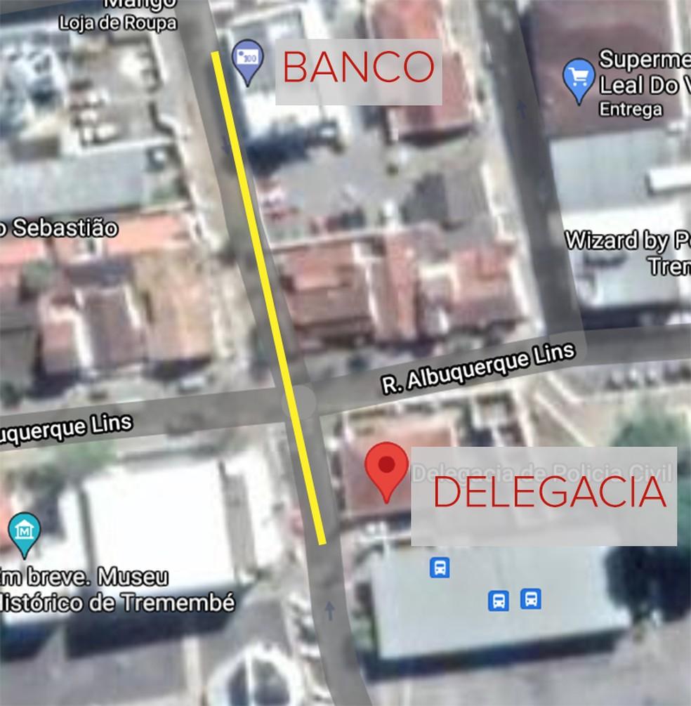 Delegacia fica a 80 metros de banco onde criminosos planejavam agir em Tremembé — Foto: Arte- G1