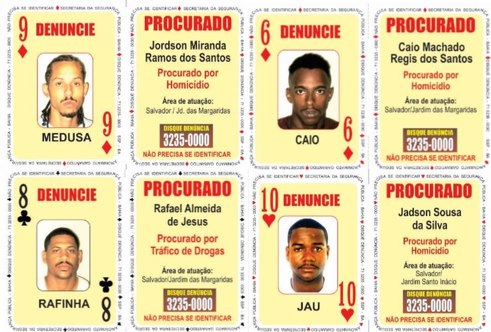 """Quatro suspeitos foram adicionados no """"Baralho do Crime"""" da SSP-BA — Foto: Divulgação/SSP-BA"""