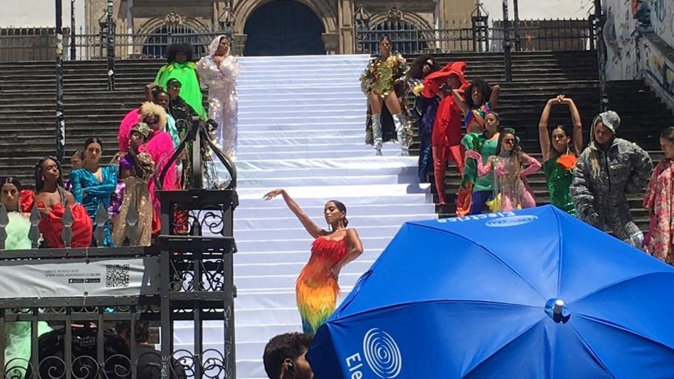 """Além das passarelas, Monique também participou do clipe """"Me Gusta"""", gravado por Anitta em Salvador, em fevereiro deste ano. — Foto: Itana Alencar/G1 BA"""