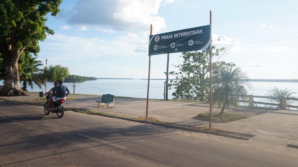Mocajuba fecha praia para evitar coronavírus. — Foto: Reprodução/ Facebook Prefeitura de Mocajuba