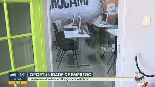 Rede de supermercados oferece 50 vagas de emprego em Valinhos; veja áreas