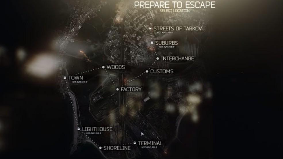Escape from Tarkov: decore o mapa para alcançar rápido os pontos de saída — Foto: Reprodução / Thomas Schulze
