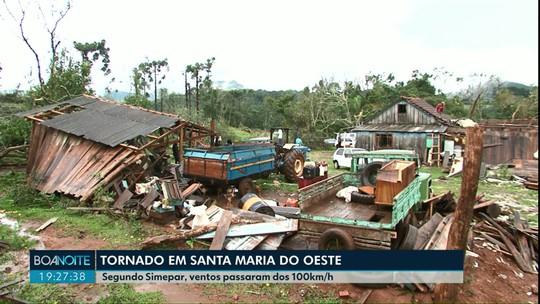 Ventos com mais de 100 km/h causam estragos em Santa Maria do Oeste