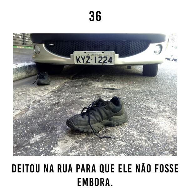 O sapato e o ônibus  (Foto: Reprodução/Instagram)
