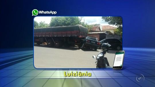 Caminhão perde freio e atinge três veículos em Luiziânia