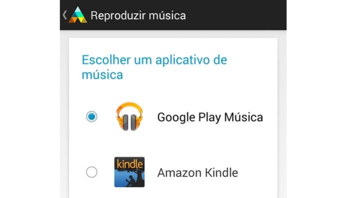 App Google Play Música selecionado no app da Motorola (Foto: Reprodução/Raquel Freire)