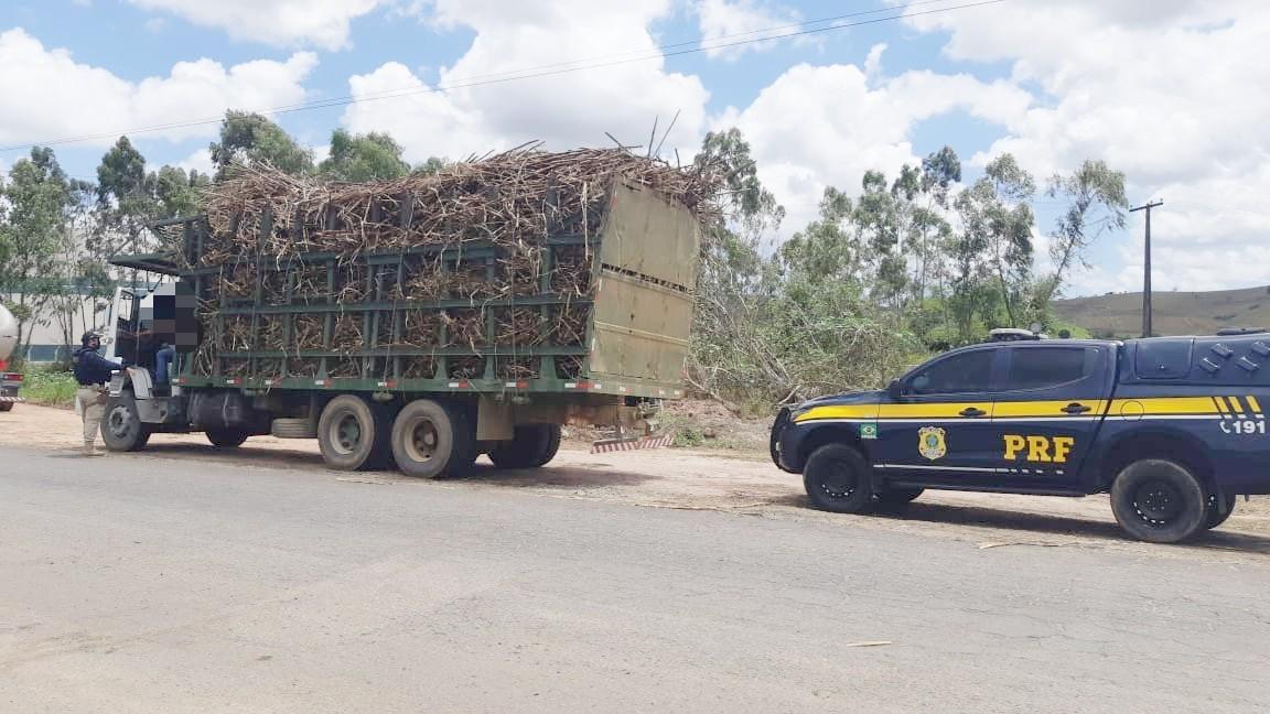 PRF apreende seis veículos em operação contra transporte irregular de cana-de-açúcar