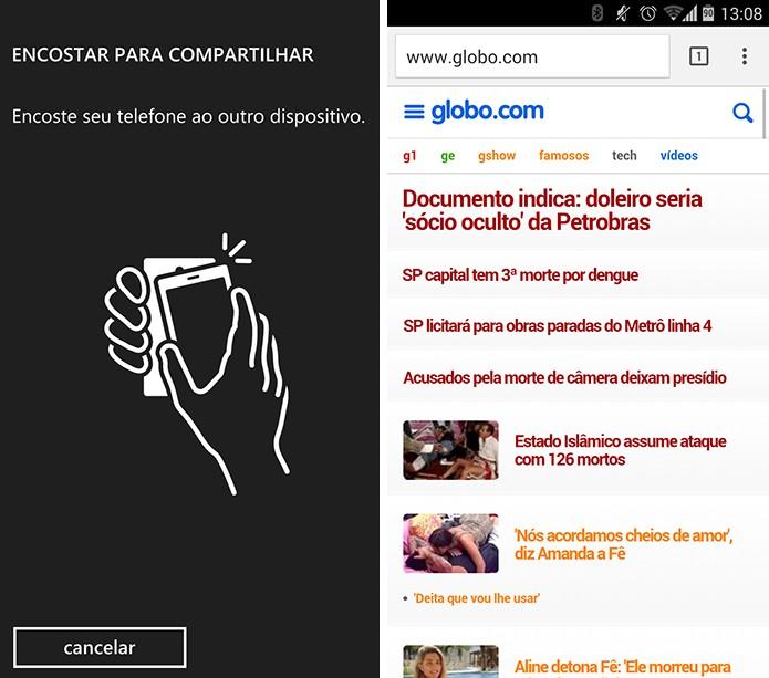Windows Phone pedirá para que usuário encoste o Android para transferir página (Foto: Reprodução/Elson de Souza)