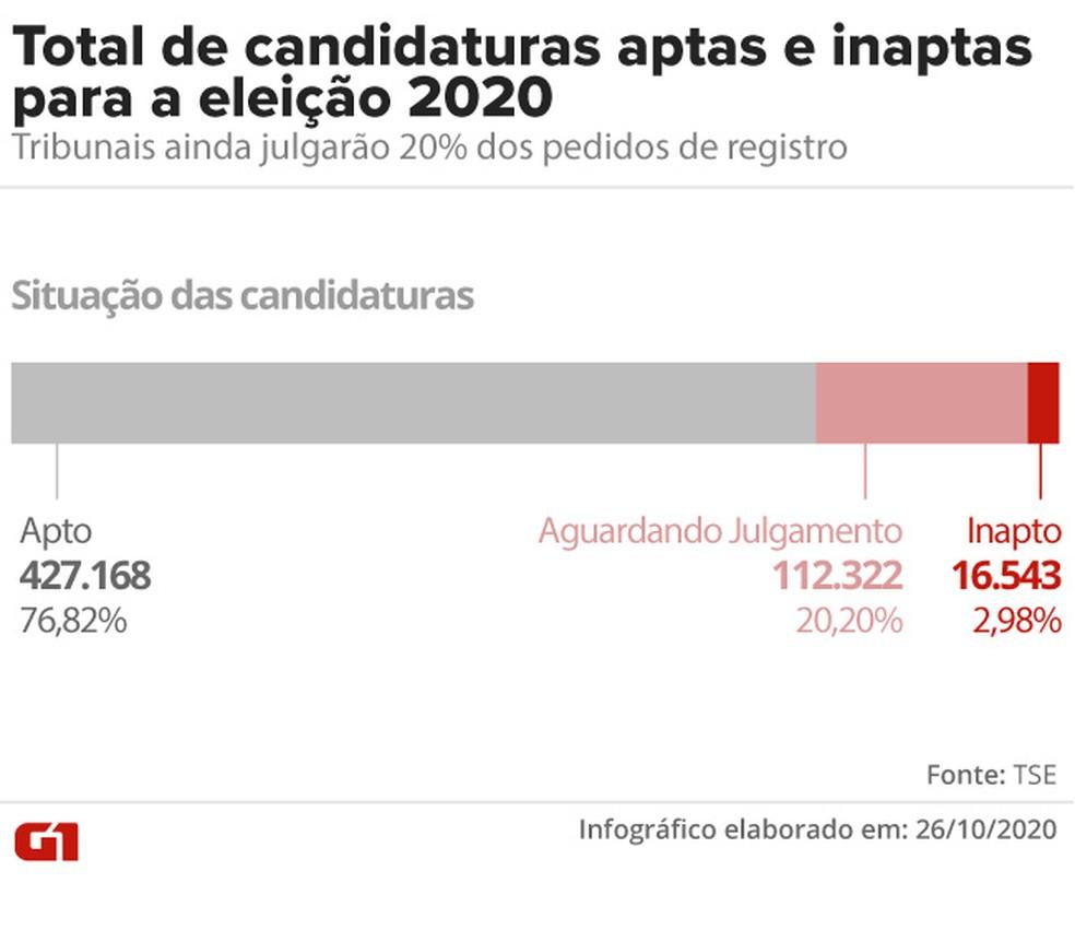 Total de candidaturas aptas e inaptas — Foto: Aparecido Gonçalves/G1