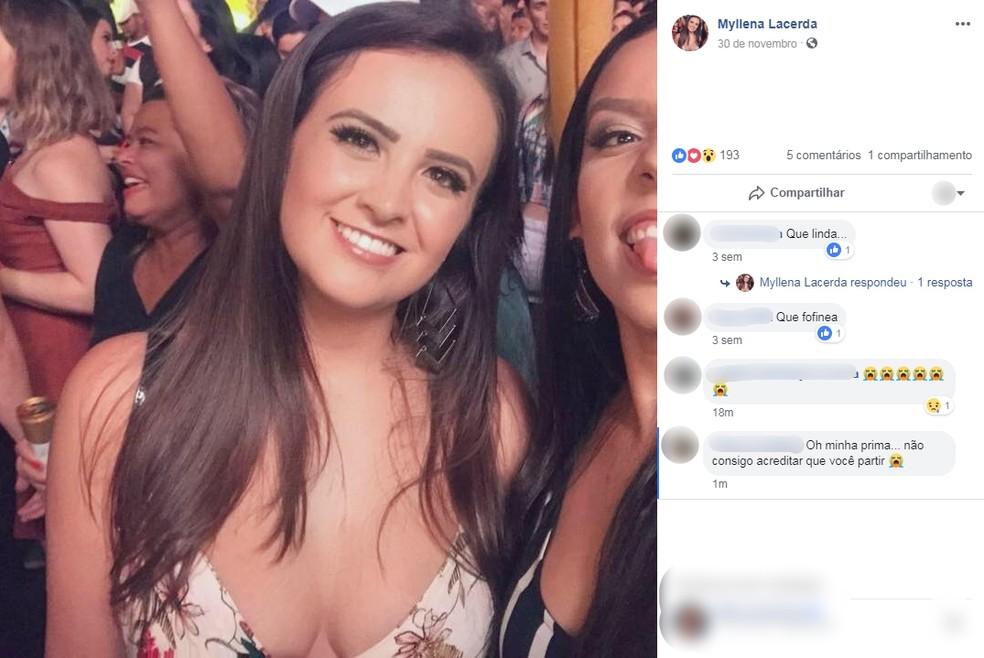 Myllena Lacerda morreu atropelada na madrugada deste domingo (23) — Foto: Facebook/Reprodução