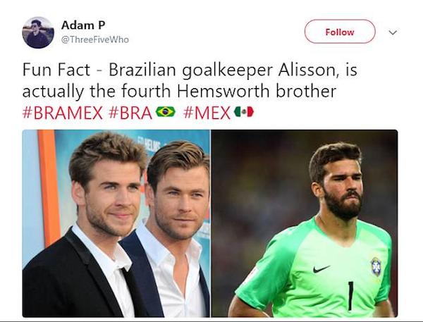 Um comparação entre o goleiro brasileiro Alisson e o ator Chris Hemsworth e seus irmãos (Foto: Twitter)