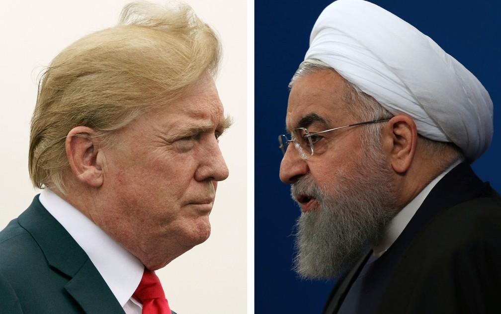 Montagem com fotos dos presidentes dos EUA, Donald Trump, e do Irã, Hassan Rouhani — Foto: AP Photo