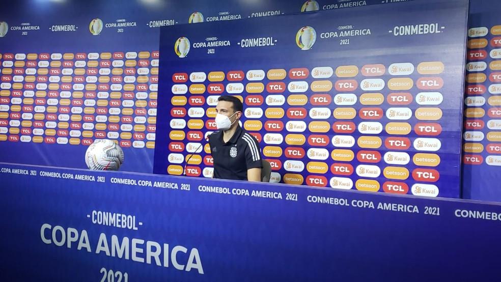 Scaloni após a classificação da Argentina na Copa América — Foto: Divulgação / Argentina