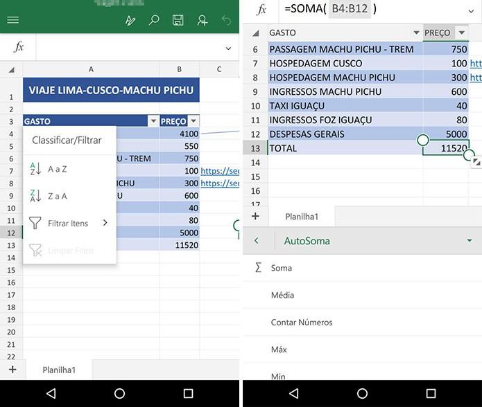 Excel para Android (Foto: Reprodução/Paulo Alves)
