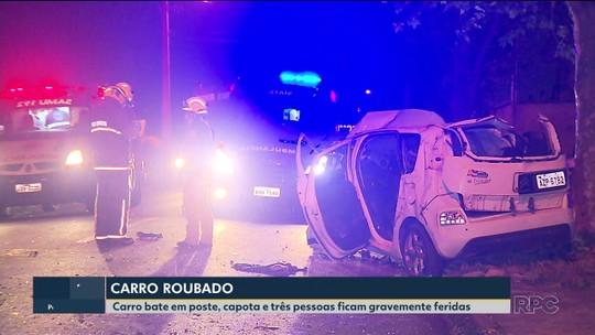 Cinco pessoas ficam feridas em acidente com carro roubado, em Pinhais