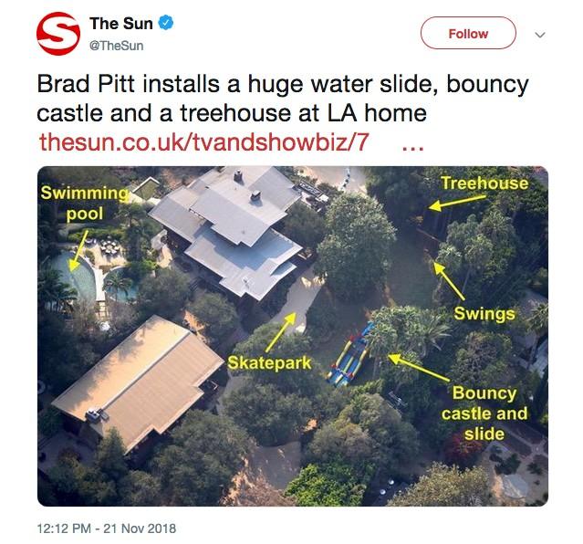 A foto feita pelo jornal The Sun da mansão de Brad Pitt com as instalações feitas por ele para agradar seus filhos (Foto: Twitter)