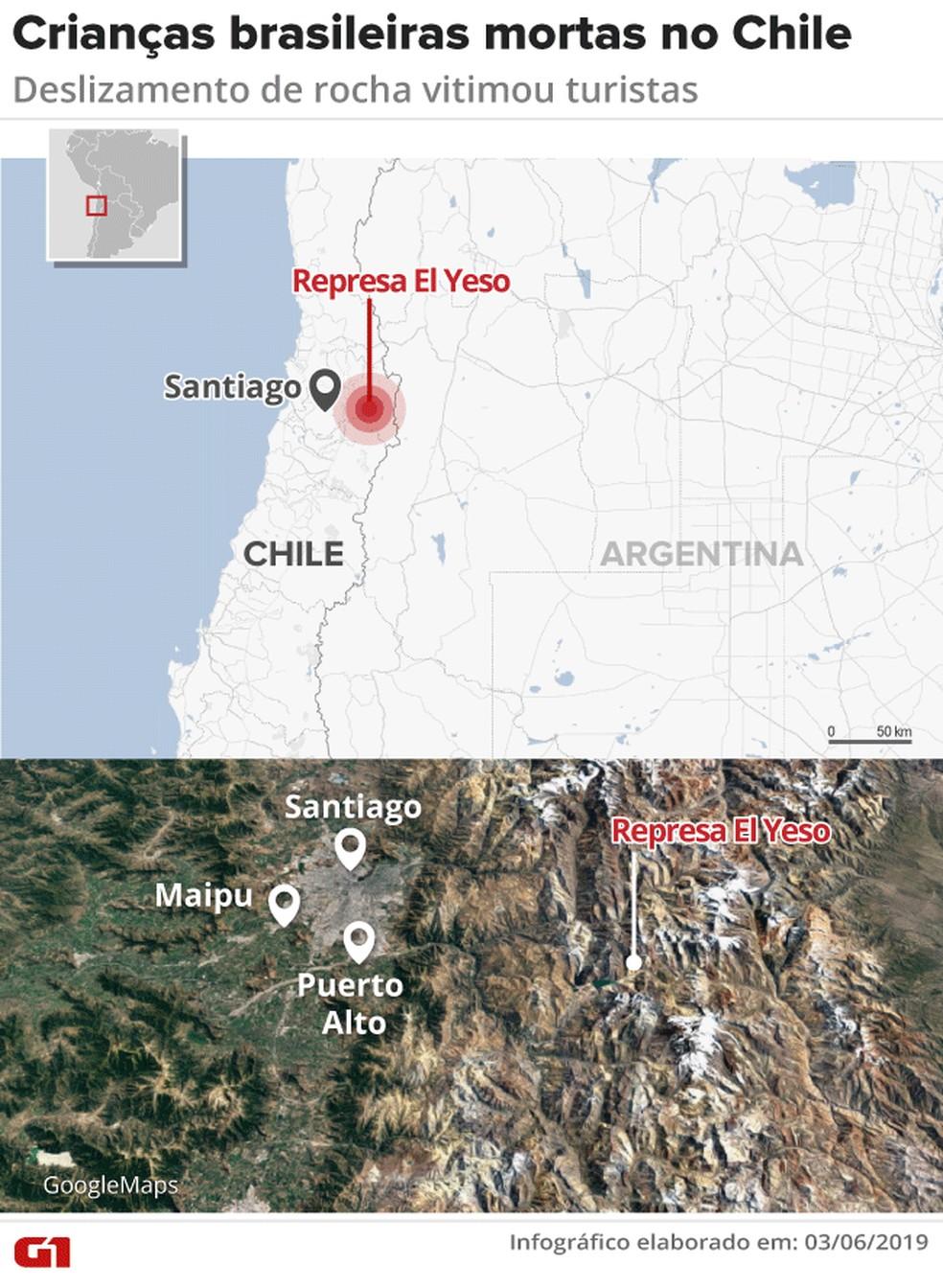 Deslizamento no Chile causou morte de brasileiras — Foto: Arte/G1