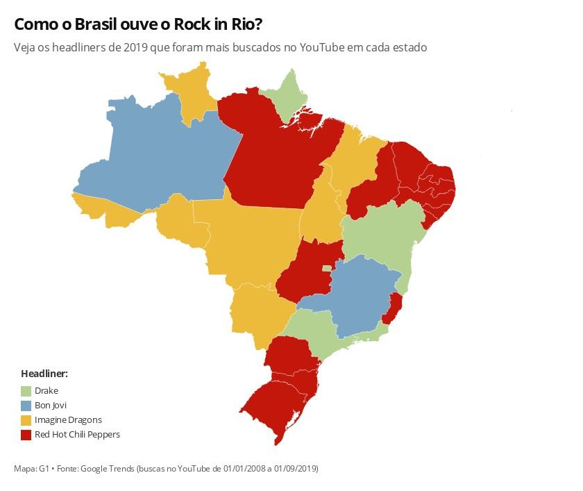 Rock in Rio: que headliner é mais popular por estado? Bon Jovi, Red Hot, Drake e Imagine Dragons dividem país - Notícias - Plantão Diário