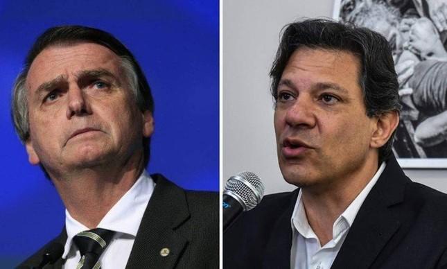 Os presidenciáveis Jair Bolsonaro e Fernando Haddad