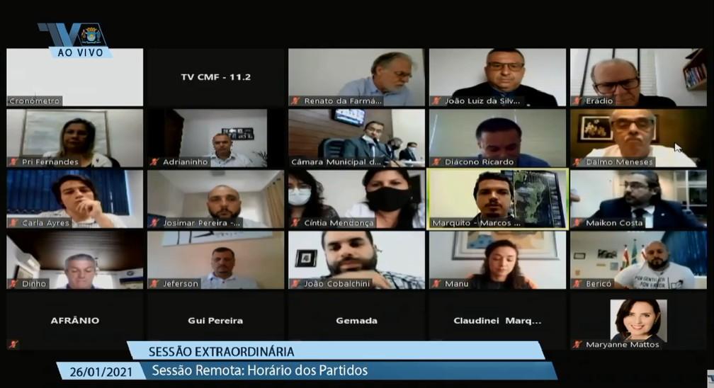 Começa a votação do 'pacotão' de projetos na Câmara de Florianópolis — Foto: Câmara de Vereadores de Florianópolis/Reprodução