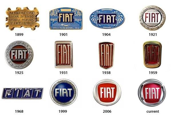 Os logotipos já usados pela Fiat (Foto: Montagem sobre arquivo)
