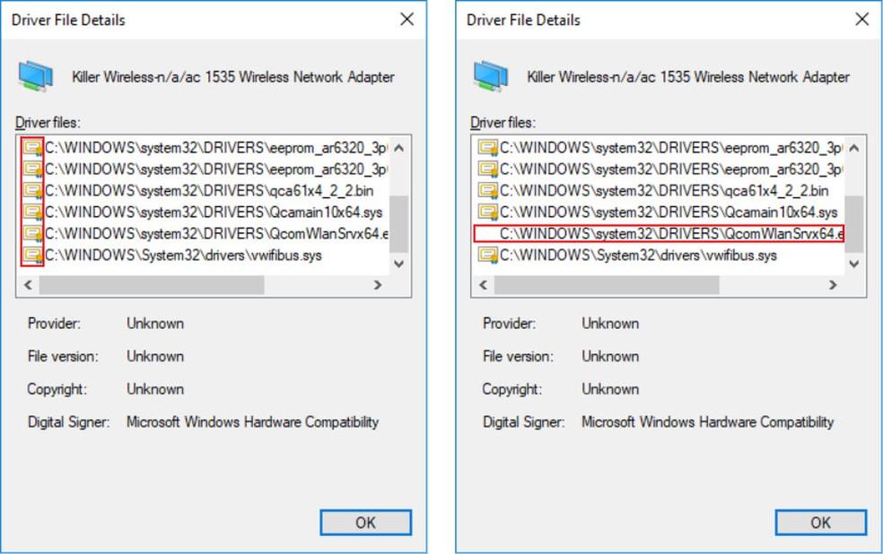 Após adulteração de software embutido em placa de rede, Windows deixou de exibir 'certificado' que indica uma assinatura digital válida. Dispositivo continuou funcionando apesar da adulteração, segundo especialistas. — Foto: Eclypsium/Divulgação