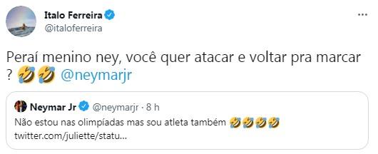 Ítalo Ferreira entra na briga com Neymar por Juliette (Foto: Reprodução / Twitter)