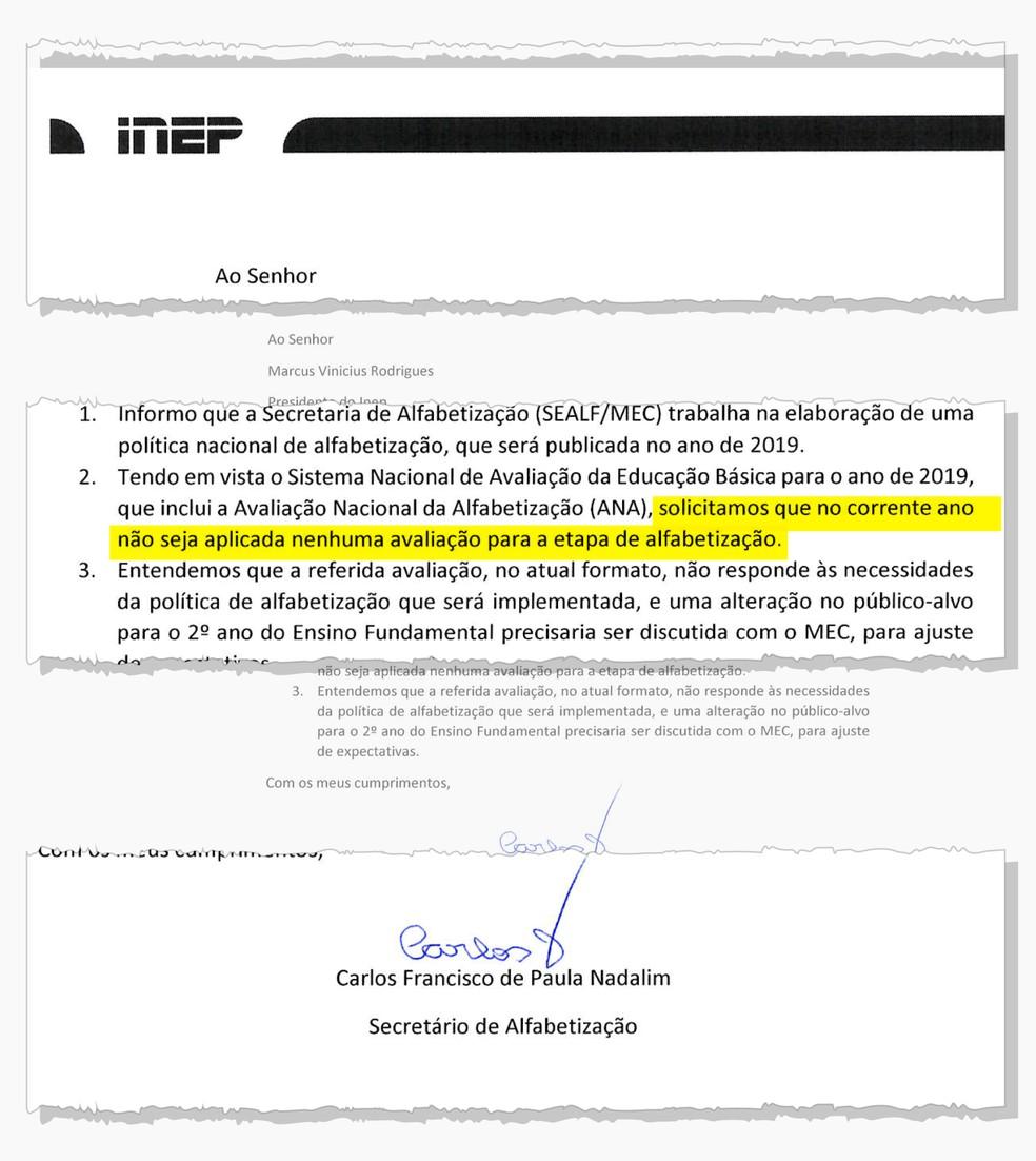 Trecho do documento assinado por Carlos Nadalim — Foto: Reprodução